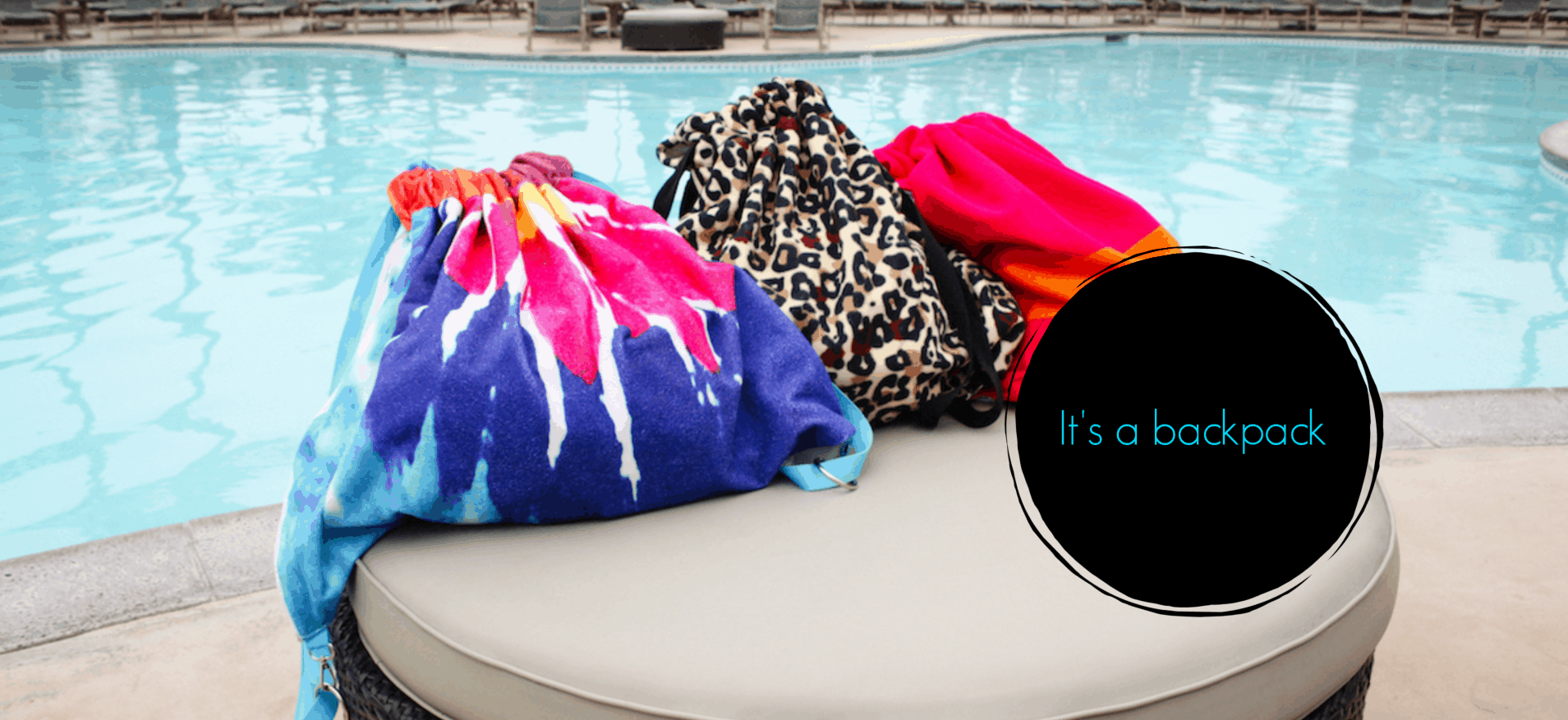 Pool Pack Towels closed up as backpacks by a pool