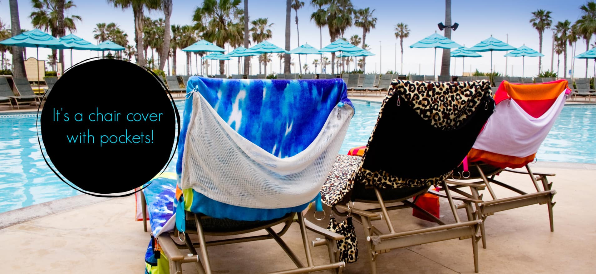 Pool Pack Lounge Chair covers with pockets by a pool.